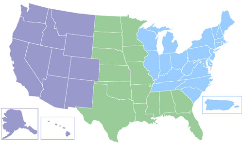 U.S. Map clickable by western, central and eastern regions