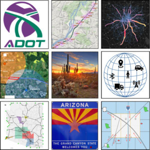 Collage of Arizona-related logos, maps, and locations.