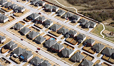 Aerial view of a residential neighborhood.